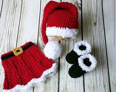 Crochet Santa Outfit Baby GirlBaby Girl by BitofWhimsyCrochet