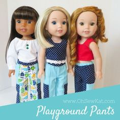Sewing patterns for dolls American Girl Wellie Wishers Animators by Oh Sew Kat! Free skirt pattern at www.ohsewkat.com. #ohsewkat #welliewishers #dollclothes