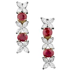 Burma Ruby Diamond Earrings | From a unique collection of vintage dangle earrings at https://www.1stdibs.com/jewelry/earrings/dangle-earrings/