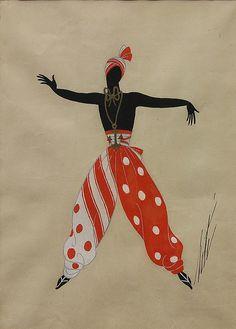 """Artist: Romain (Erté) De Tirtoff (French, 1892-1990); Description: """"Image"""" 5 of a set of 7. Various Costume Design Illustrations; Medium: Gouaches."""