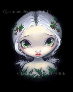 Jasmine Becket Griffith Art Print Signed Holly Angel Christmas Holiday Berry Pop   eBay