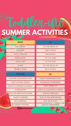 Nanny Activities, Toddler Learning Activities, Infant Activities, Preschool Activities, Summer Fun For Kids, Summer Fun List, Summer Activities For Kids, Toddler Schedule, Baby Development