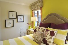 Yellow & Grey Bedroom Design Ideas, Pictures, Remodel and Decor. Pink/Maroon Tulips with the Crapedia flowers.
