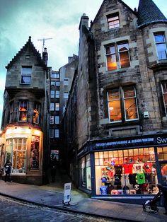 Evening Shop Lights on Cockburn Street ~ Edinburgh, Scotland