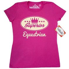 Inktastic Equestrian Vintage Superior Women's T-Shirt Gift Retro Crown Hobby Horses Riding Hobbies Clothing Apparel Tees Adult Hws, Size: Medium, Pink