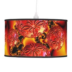 Flame Delights, Abstract Crimson Red Fire Fractal Hanging Lamp #abstract #lamp $101.00