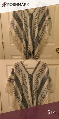 Francesca's beige and blue poncho Never been worn! Absolutely great condition. The tag has been cut off but it is a one size fits all Francesca's Collections Sweaters Shrugs & Ponchos