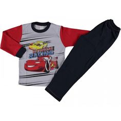 костюм пижама для мальчиков красный с машинкой Babexi