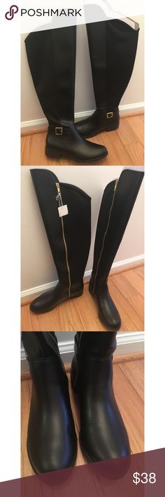 ✨ NWT Black Faux Leather Over the Knee boots - NWT Black Faux Leather OTK boots - Amazing never worn black faux leather over the knee boots from Payless - Literally never worn because they didn't fit over my calves  - Comes in the original shoe box and shipping box!  - Stetchy material up the back and zipper on the side  - Still has cardboard inside shoe to keep in place - Fantastic steal for great boots! - Brand: Payless - Size: 8 but not good for wide calves! *20% off 2+ * Make me an…
