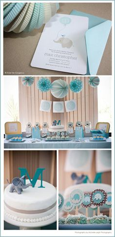 Elephant themed baby shower. I really love this but as a baby girl shower so a different color then blue:)