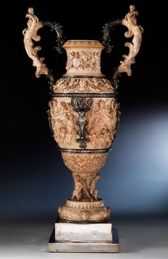 Large Museum Quality Silver Mounted Ivory Amphora Vase, Germany 19th Century.