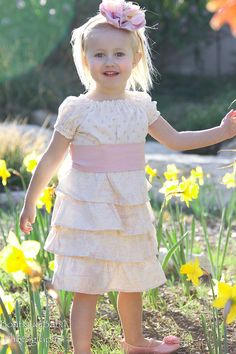 Spring Easter Toile Ruffle Dress Custom by alyssanickohldesigns, $58.00