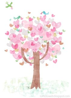 Heart Tree: these cute little pink hearts are actually two fingerprints, overlapping at the bottom. Cute!