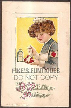 Valentine 1914 Vintage Postcard - Wounded Heart, Elixer of Love, Samuel Schmucker