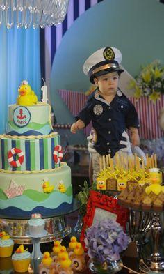 Sailor Duck Boy Nautical Ducky 1st Birthday Party Baby Shower Planning Ideas, so cute..Wyatt loves rubber duckies :)