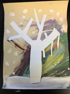 1/4/17: Winter Trees / Made with construction paper, water color paint (background), and tempera paint / Inspired by: http://www.howweelearn.com/birch-winter-tree-art-project/