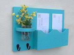 Mail Organizer - Mail Holder - Double Slots - Key Hooks - Jar Vase - Organizer - Painted Distressed Wood