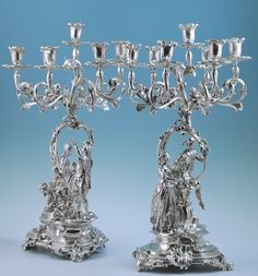 Superb Pair of Sterling Silver Seven-Light Candelabra  Robert Garrard, London 1873. (Eight nozzles 1871).