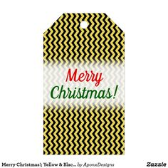 Merry Christmas!; Yellow & Black Wavy Line Pattern