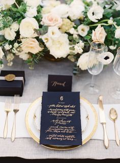 Navy and gold table decor and gold flatware: http://www.stylemepretty.com/2016/08/30/sinclaire-moore-workshop-with-omalley-photographers/ Photography: O'Malley Photographers - http://omalleyphotographers.com/
