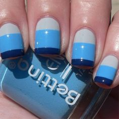 Easy to do: Nautical Striped Nails. Start with gray, blue, navy blue. Then apply top coat. Done! (:
