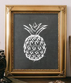 Pineapple print wall art decor summer art by TwoBrushesDesigns