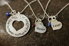 Mother and Daughter Necklace Set for mom and 2 daughters Love Between Mother is Forever and Ever