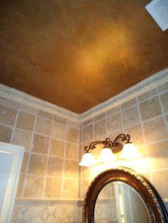 Copper ceiling to match mirror Home Design Plans, Plan Design, Design Ideas, Interior Rendering, Interior Design, Copper Ceiling, Custom Canvas, Canvas Artwork, Ceiling Fan