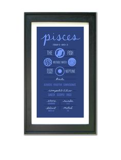 PISCES Zodiac Digital Print Poster Illustration of by ZodiacZone