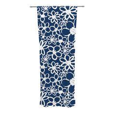 "Emine Ortega ""Daisy Lane"" Decorative Sheer Curtain from KESS InHouse #navy #curtain #home decor #white #floral #flowers #painterly"