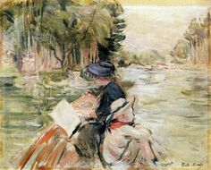 Woman with a Child in a Boat — Berthe Morisot