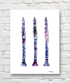 Clarinet Art Print - Abstract Watercolor Painting - Music Wall Decor                                                                                                                                                                                 More