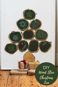 How to make a fun Boho space saving wood slice Christmas tree. Complete with retro geometric string art ornaments. Hang or lean against the wall. Wooden Christmas Trees, Christmas Tree Ornaments, Christmas Crafts, Christmas Ideas, Christmas Colors, Simple Christmas, Green Christmas, Crafts To Make, Easy Crafts