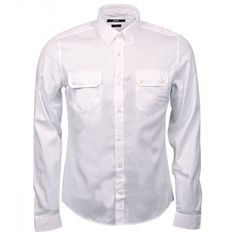 Gucci White Cotton Chest Pocket Shirt (€430) ❤ liked on Polyvore featuring men's fashion, men's clothing, men's shirts, men's casual shirts, tops, men, boy, shirts and menswear