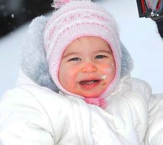 Princess Charlotte smiling in the snow for a family ski trip in the French Alps, March 3, 2016.