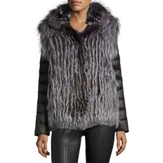 Gorski Fox Fur Jacket w/ Removable Down Sleeves ($1,530) ❤ liked on Polyvore featuring outerwear, jackets, silver, long jacket, snap front jacket, long sleeve jacket, stand up collar jacket and fox fur jacket