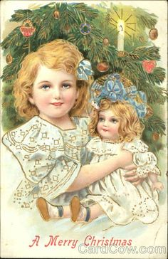 Girl with Doll A Merry Christmas