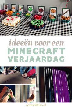 Een leuk feestje organiseren voor de verjaardag van een Minecraft-fan? Bekijk inspiratie voor Minecraft spelletjes en versiering in dit bericht. Met gratis download voor een Minecraft feesttafel. Yoshi, Pokemon, Stress, Blog, Party Ideas, Ideas Party, Thirty One Party