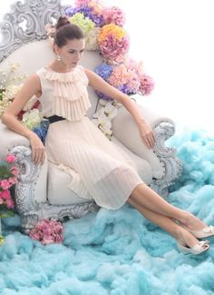 Oops Beige Sleeveless Ruffles Front Pearls Neckline Pleated Silk Dress pictures