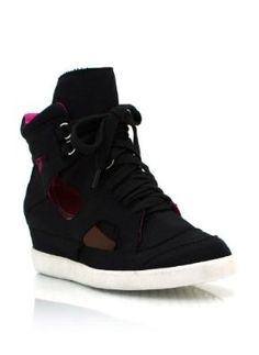 97fa2178f1e Canvas Cut-Out Wedge Sneakers Very High Heels