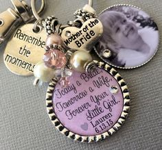 MOTHER of the BRIDE gift Today a bride tomorrow a wife forever your little girl, photo pendant, charm necklace remember the moments custom gift by buttonit