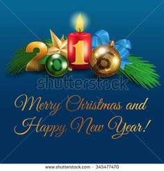 "New composition for your design. Vector illustration of ""Merry Christmas and Happy New Year!"", Christmas decorations, candle, balls, branch Christmas tree, star and bow."
