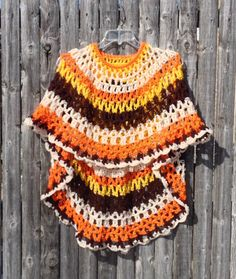 Sunflower Crochet Poncho Unbalanced Design by ToppyToppyKnits