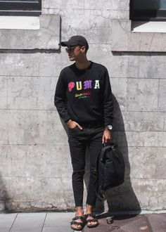 Mens Fashion Style & Outfit inspo by Blogger MR TURNER. Beyonce 'Hold Up' Dad cap with PUMA sweater and Melbourne based A brand jeans. Bag from Belance Store in Paddington, Sydney, Australia.