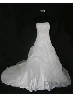 Ball Gown Strapless Chapel Train Organdy Lace Wedding Dress WBG0038
