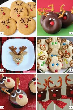 All of these reindeer treats really stood out to me since the decorating is so foolproof  you use things like pretzels, Ms, and Nilla Wafers to create the faces. And as much as Im drawn to all the sweets, my favorite is the little Rudolph sandwich with crust antlers. It would be such a fun Christmas Eve lunch for a kid!