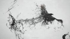 Raven Bird Flying Minimalism Smoke Art Abstract Black Gray BW WallpapersByte com Smoke Drawing, Smoke Art, Trash Polka, Aquarell Tattoo Schwarz, Elf Rogue, Raven Flying, Bird Flying, Widder Tattoos, Rabe Tattoo