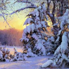 Painting by Michael Godfrey. Painting Snow, Winter Painting, Winter Art, Painting Art, Watercolor Landscape, Landscape Art, Landscape Paintings, Watercolor Artists, Watercolor Painting