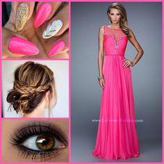 La Femme 20956 ~ barbie pink ~ chevron nail design ~ ruched bodice ~ prom 2015 ~ braid inspo ~ vibrant prom dress ~ long chiffon dress ~ pink prom ~ beaded ~ sweet 16 ~ rhinestone trim ~ pageant look ~