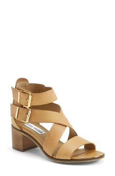 Steve Madden 'Rosana' Double Ankle Strap Leather Sandal (Women) available at size 8 Pretty Shoes, Cute Shoes, Me Too Shoes, Daily Shoes, Sock Shoes, Shoe Boots, Leather Sandals, Shoes Sandals, Block Sandals